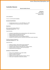 Sample Janitorial Resume by Custodian Responsibilities Resume Free Resume Example And