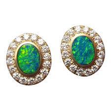 opal earrings stud green opal diamond earrings studs 14k yellow gold flashopal