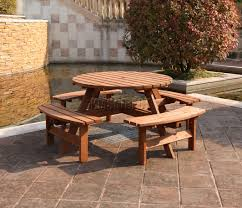 westwood 8 seater wooden pub bench round picnic table furniture
