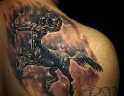 truly fabulous sagittarius zodiac tattoo behind shoulder real