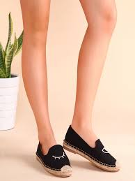 black blinking eye embroidered espadrille plimsolls shein sheinside