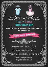 gender reveal baby shower invitation ties or tutus baby