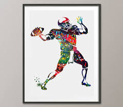 american football player quarterback watercolor posters sports art