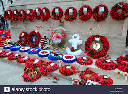 memorial wreaths on the cenotaph whitehall stock photo
