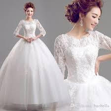 wedding frocks quality o neck half sleeves white wedding dress wedding