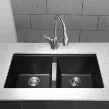 black countertop with black sink integrated sink and countertop white wooden counter fancy tubular