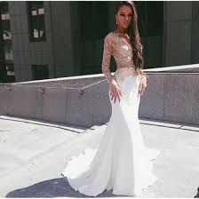 white lace prom dress online get cheap white lace sleeve prom dress with a split