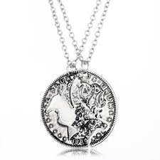 Engraved Necklaces For Couples Wholesale 2psc Fashion Charm Jewelry Couples Pendant Coin Puzzle