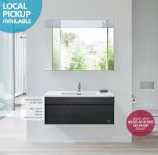 The Range Bathroom Furniture Ibiza 900mm Black Linewood Timber Wood Grain Wall Hung Bathroom