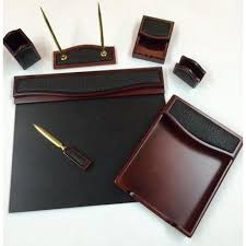 Brown Leather Desk Accessories 7 Burgundy Oak And Black Crocodile Eco Friendly Leather Desk