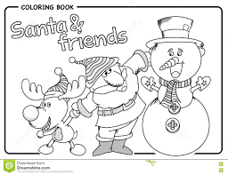 santa claus with his friends reindeer and snowman coloring draw