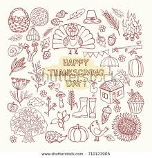 vector set doodles thanksgiving sketch drawings stock vector