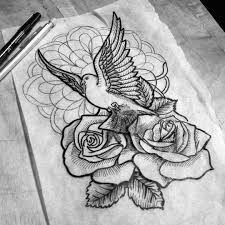 black and white dove with rose buds and mandala flower tattoo