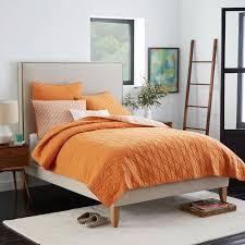 tall nailhead tapered leg bed linen weave west elm