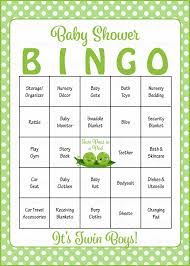 peas in a pod baby shower game download for boy twins baby bingo