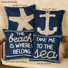 nautical inspired embroidered accent pillows