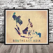South East Asia Map by Vintage Southeast Asia Map Watercolor Styled Print Asia