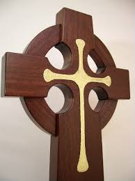 wooden celtic cross large 4 ft mahogany wood celtic wall cross solid brass inlay