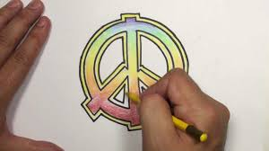 how to draw a peace sign with rainbow colors mat