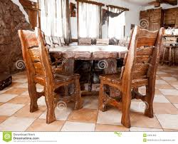 Wooden Table Chairs Big Wooden Table With Chairs Stock Photography Image 34531802