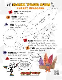 turkey headband diy turkey headband kids craft printable worksheet