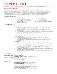 Professional Summary Resume Examples by Professional Casino Games Dealer Templates To Showcase Your Talent