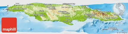 jamaica physical map physical panoramic map of jamaica