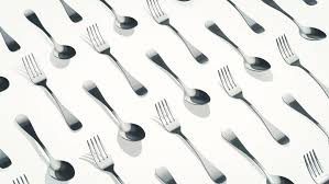 kitchen forks and knives background with animation of moving forks knives and spoons