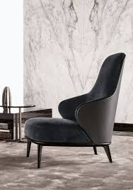High Armchairs Bergere High Back Fabric Armchair Leslie Collection By Minotti