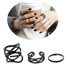 black metal rings images 3pcs set punk retro personality multilayer hollow exaggerated jpg