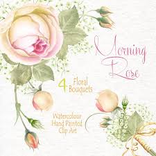 watercolour flower clipart morning rose flowers bouquets diy