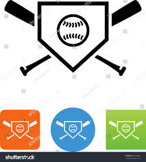 home plate icon baseball bats ball stock vector 257198029