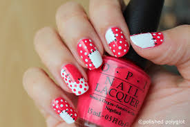 nail art coral u0026 white patchwork nails polished polyglot
