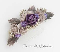 Shabby Chic Purple by Shabby Chic Flower Comb Cottage Shic Purple Bridal Headpiece