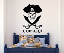 popular skull wall decal buy cheap skull wall decal lots from d188 personalized name pirate skull cross swords vinyl sticker wall decal decoration china