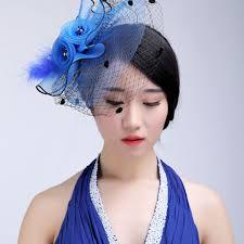 blue bridal hats european style veil feather women hair