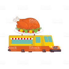 turkey car food truck thanksgiving day fast food car vector