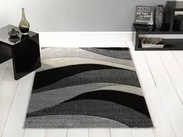 Large Contemporary Rugs Large Contemporary Waves Design Black Grey Area Rug In 120 X 170