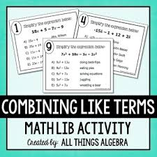 combining like terms math lib by all things algebra tpt