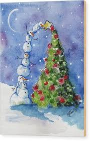 snowman christmas tree snowman christmas tree painting by sylvia pimental