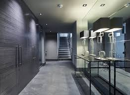 soft grey palette entrance hall mirrored wall mayfair house
