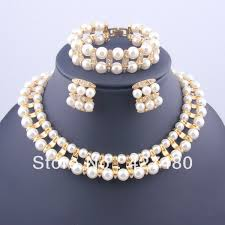 gold pearl necklace sets images New arrival 2pcs gold plated pearl jewelry sets classic imitation jpg
