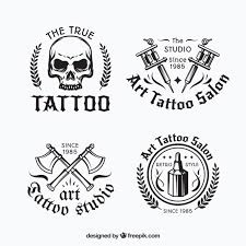 black and white tattoo logo collection vector free download