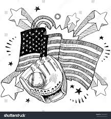 American Flag Doodle Doodle Style American Flag Baseball Glove Stock Vector 107930393