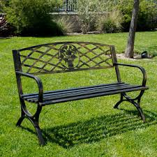 Steel Garden Bench Outdoor Bench Patio Chair Metal Garden Furniture Deck Backyard