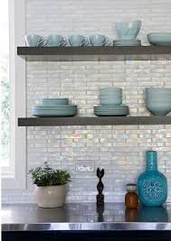 iridescent glass tile backsplash contemporary kitchen