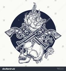 skull crossed guns rose tattoo art stock vector 582583606