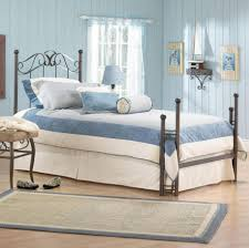 bedroom blue and white bedside lamps brown nightstands brown