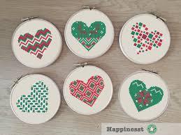 Free Cross Stitch Christmas Ornament Patterns Set Of 6 Modern Christmas Cross Stitch Pattern Christmas Hearts