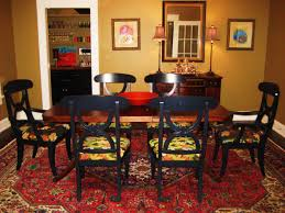 gorgeous large of red dining room rug set underneath of black